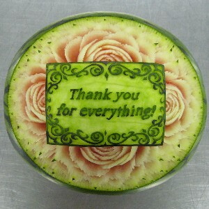 Watermelon Carving No.163: Thank you for everything!
