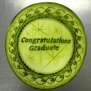 Watermelon Carving No.162: Congratulations Graduate.