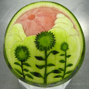Watermelon Carving No.158: Sunflower.