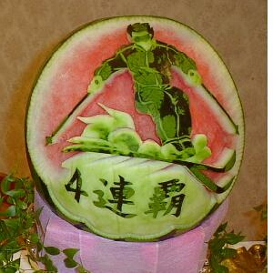 watermelon sculpture: Skier.
