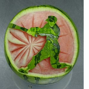 watermelon sculpture: Batter.