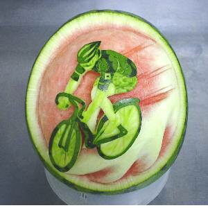 watermelon sculpture: Bicycle race.