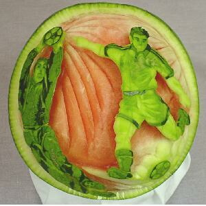 watermelon sculpture: Festival in Japan. (NafuneTaisai)