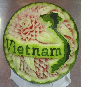 watermelon sculpture: Vietnam.