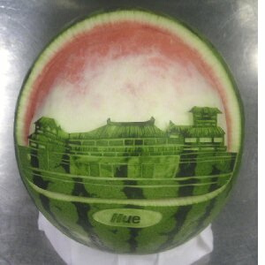 watermelon sculpture: Vietnam, Hue Imperial City