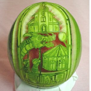 watermelon sculpture: Hanami. (Cherry Blossom Viewing)