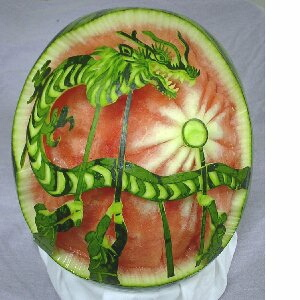 watermelon sculpture: Nagasaki Kunchi. (Dragon Dance)