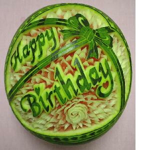 watermelon sculpture: Happy Birthday.
