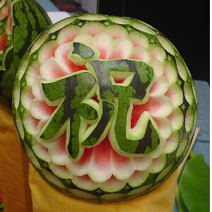 watermelon sculpture: Flower.