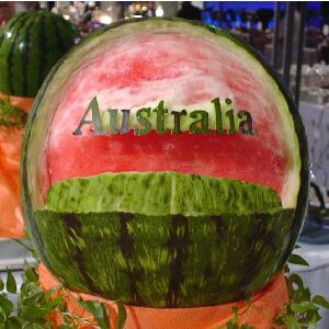 watermelon sculpture: Australia. (Ayers Rock, Uluru)