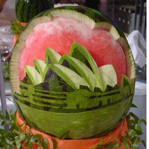 watermelon sculpture: Sydney Opera House.
