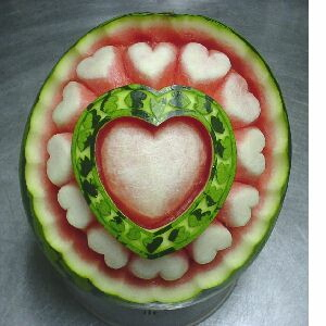 watermelon sculpture: Heart.