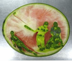 watermelon sculpture: Wedding Reception.