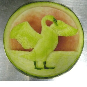watermelon sculpture: Swan.