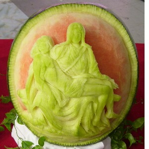 watermelon sculpture: Pieta.