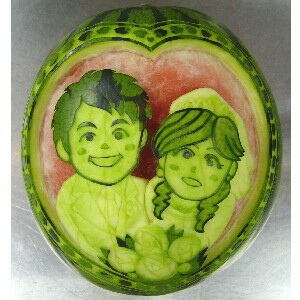 watermelon sculpture: Volleyball.