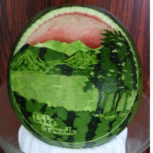 watermelon sculpture: Executive Chef.