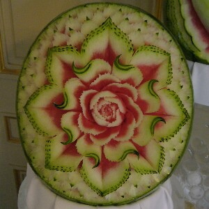 Fruit carving by Takashi Itoh.