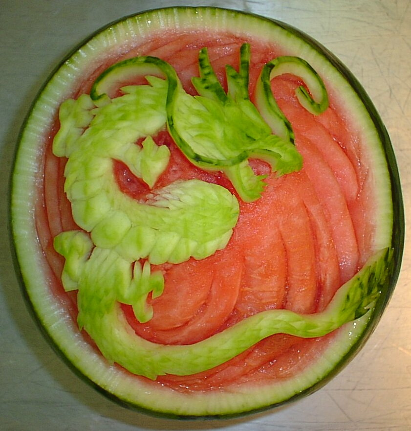 Watermelon Carving: Temple in Thailand.