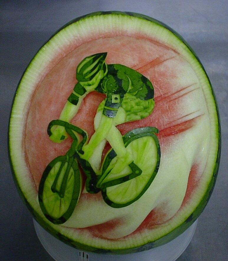 Watermelon Carving: Happy 50th Birthday.