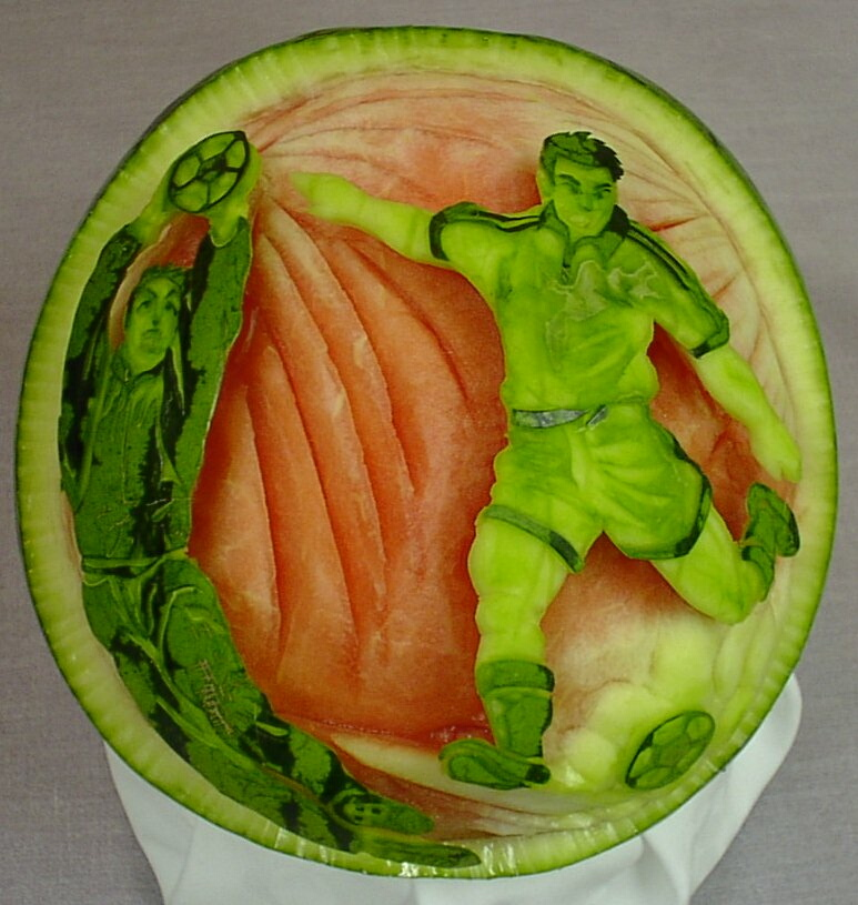 Watermelon Carving: Soccer.
