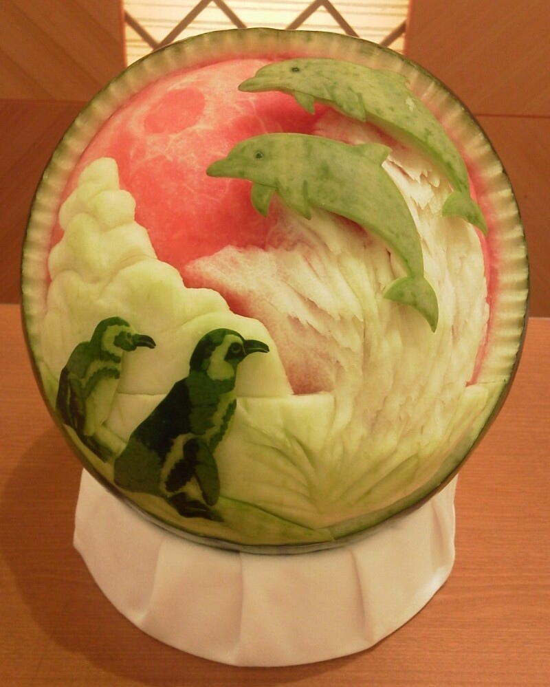 Watermelon Carving: Dolphins and Penguins.