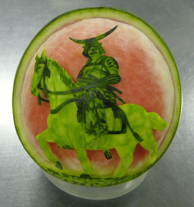 Watermelon Carving No.156: The Samurai (Date Masamune).